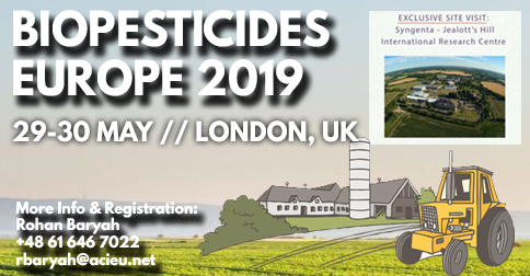 Biopesticides Europe 2019, 29.-30.05.2019, London, UK
